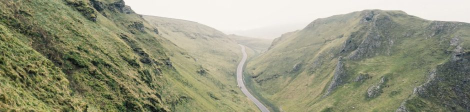 Winding road in peak district