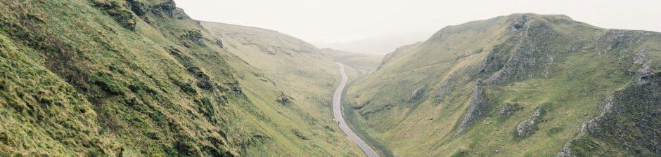 Winding road in peak district