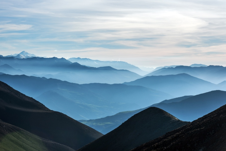 The High Atlas, valleys, hills mist, tree, Morocco, Africa